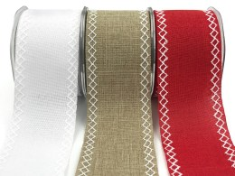 linen stitched white diamond wide ribbons