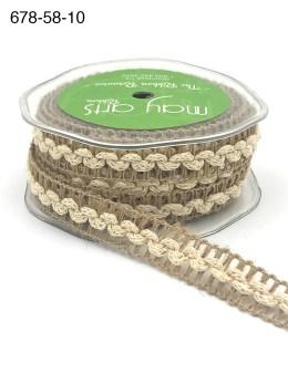 natural mesh with ivory ric rac jute burlap trim