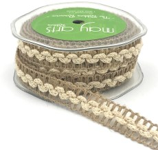 natural mesh with ivory ric rac jute burlap trim