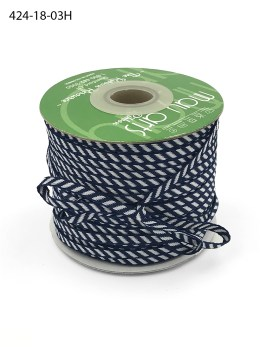 navy and white diagonal stripe woven ribbon