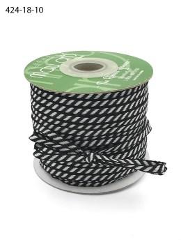 black and white diagonal stripe woven ribbon