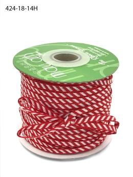 red and white diagonal stripe woven ribbon