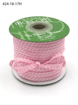 light pink and white diagonal stripe woven ribbon