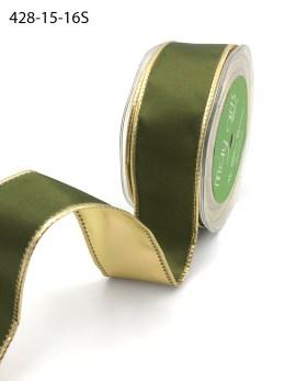 olive green and gold metallic reversible satin ribbon