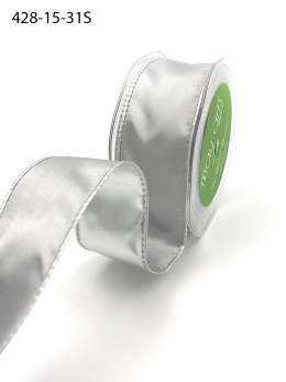 silver and white reversible woven satin ribbon