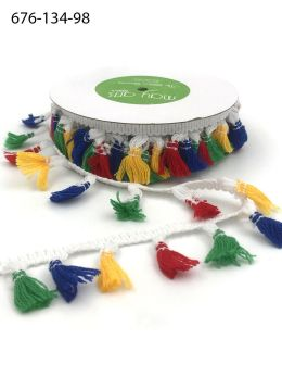 primary color red green blue yellow tassle fringe trim embellishment
