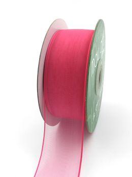 fuchsia pink thin edge organza ribbon
