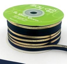 navy gold foil satin invitation ribbon