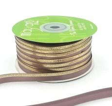 taupe gold foil satin invitation ribbon