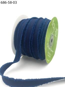 navy fuzzy grosgrain ribbon