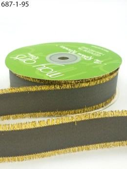 charcoal gray metallic gold fringe grosgrain ribbon