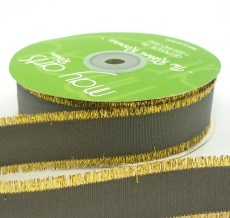 charcoal gray metallic gold fringe grosgrain ribbon
