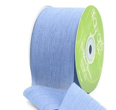 dusty blue crinkle chiffon wedding ribbon