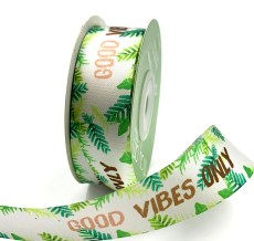 """good vibes only"" inspirational printed satin ribbon"