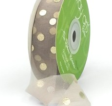 gray with metallic gold polka dot chiffon ribbon
