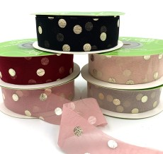metallic gold polka dot chiffon ribbons