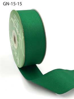 1.5 Inch Light-Weight Flat Grosgrain Ribbon with Woven Edge - GN-15-15 GREEN
