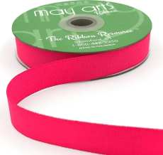 ~3/4 Inch Light-Weight Flat Grosgrain Ribbon with Woven Edge - GN-34-52 Neon Fuchsia