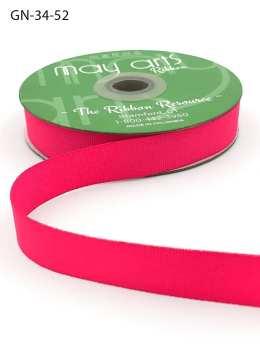 ~3/4 Inch Light-Weight Flat Grosgrain Ribbon with Woven Edge - GN-34-52 Neon Fuchsia