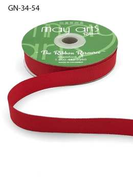 ~3/4 Inch Light-Weight Flat Grosgrain Ribbon with Woven Edge - GN-34-54 Bright Red