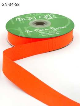 ~3/4 Inch Light-Weight Flat Grosgrain Ribbon with Woven Edge - GN-34-58 Neon Orange