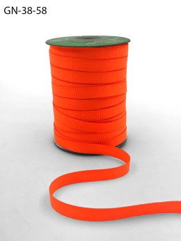 ~3/8 Inch Light-Weight Flat Grosgrain Ribbon with Woven Edge - GN-38-58 Neon Orange