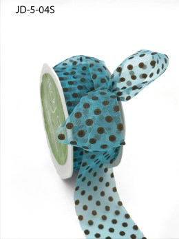 1.5 Inch Sheer Dots Ribbon - JD-5-04S Turquoise and Brown