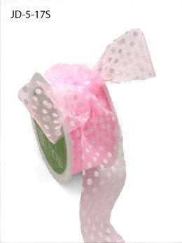 1.5 Inch Sheer Dots Ribbon - JD-5-17S Pink