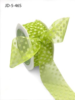 1.5 Inch Sheer Dots Ribbon - JD-5-46S Parrot Green