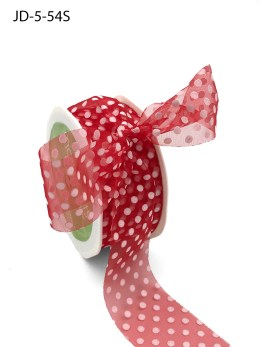 1.5 Inch Sheer Dots Ribbon - JD-5-54S Red