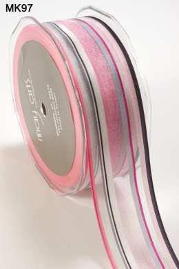 1.5 Inch SHEER/STRIPES Ribbon - MK97 - PINK/GRAY/BLACK