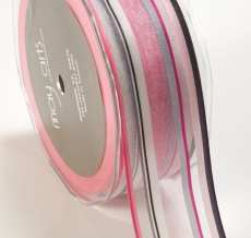 1.5 Inch SHEER/STRIPES Ribbon - MK97 - PINK/GRAY/BLACK