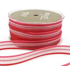 1/2 Inch SHEER/STRIPES Ribbon - MKK22 - PINK/RED