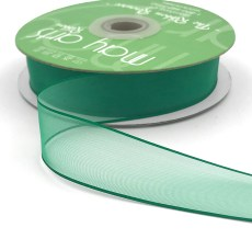 1 Inch Flat Soft Sheer Ribbon with Thin Solid Woven Edge - NNE-1-15 GREEN