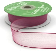 1 Inch Flat Soft Sheer Ribbon with Thin Solid Woven Edge - NNE-1-25 BURGUNDY