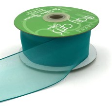 2 Inch Flat Soft Sheer Ribbon with Thin Solid Woven Edge - NNE-2-04 TEAL