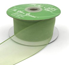 2 Inch Flat Soft Sheer Ribbon with Thin Solid Woven Edge - NNE-2-16 OLIVE