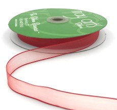 5/8 Inch Flat Soft Sheer Ribbon with Thin Solid Woven Edge - NNE-8-14 RED