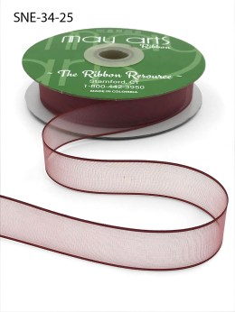 3/4 Inch Soft Sheer Ribbon with Thin Solid Edge - SNE-34-25 Burgundy
