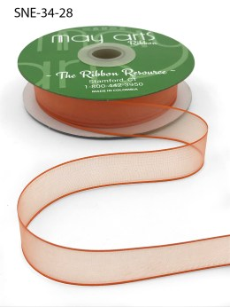 3/4 Inch Soft Sheer Ribbon with Thin Solid Edge - SNE-34-28 Neon Orange