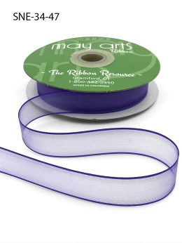 3/4 Inch Soft Sheer Ribbon with Thin Solid Edge - SNE-34-47 Purple