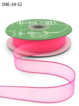 3/4 Inch Soft Sheer Ribbon with Thin Solid Edge - SNE-34-52 Fuchsia