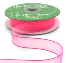 3/4 Inch Soft Sheer Ribbon with Thin Solid Edge - SNE-34-52 Fuchsia