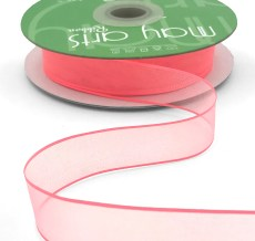 3/4 Inch Soft Sheer Ribbon with Thin Solid Edge - SNE-34-53 Light Fuchsia