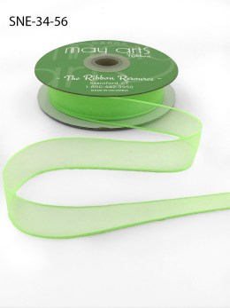3/4 Inch Soft Sheer Ribbon with Thin Solid Edge - SNE-34-56 Parrot Green