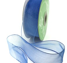 1.5 Inch Soft Variegated (multi-color) Sheer Ribbon with Thin Solid Edge - SNV-15-03 Light Blue/Blue