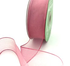 1.5 Inch Soft Variegated (multi-color) Sheer Ribbon with Thin Solid Edge - SNV-15-17 Light Pink/Mauve