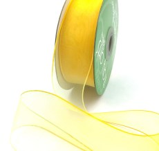 1.5 Inch Soft Variegated (multi-color) Sheer Ribbon with Thin Solid Edge - SNV-15-72 Lemon/Yellow