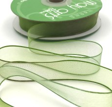 3/4 Inch Soft Variegated (multi-color) Sheer Ribbon with Thin Solid Edge - SNV-34-16 Sage/Olive