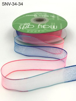 3/4 Inch Soft Variegated (multi-color) Sheer Ribbon with Thin Solid Edge - SNV-34-34 Neon Pink/Neon Blue